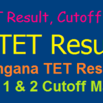 TS TET Results/ Cutoff Marks 2017- Telangana Tet Paper 1 & 2 Cutoff Marks with Category wise