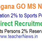 TS Sports Persons 2% Reservation in Direct Recruitment GO 5