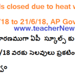 Schools closed due to heat waves from 19th to 21st June 2018 in AP