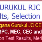 TS GURUKUL RJC CET Results 2019  | Check TS Gurukul Inter Admission Result at tsswreisjc.cgg.gov.in