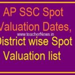 AP SSC Spot Valuation Dates from 15th April to 27th April 2019 | District wise Spot Valuation list