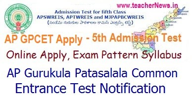 AP Gurukulam 5th Class Admission Notification 2020   APGPCET Admission Lottery Selection Process