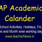 AP School Activities, Holidays, FA, SA Dates and Month wise working days 2019-20 |