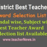 AP District Best Teacher Award List 2019 for AP Teachers | Mandal wise Best Teacher Award Selection list