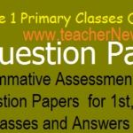 Summative 1/ SA 1 Primary Class CCE Model question Papers for 1st, 2nd, 3rd, 4th, 5th Class 2019-20