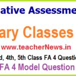 FA 4 Question Papers 1st, 2nd, 3rd, 4th, 5th Class 2020 - Formative IV for Primary Classes