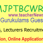 MJP TS BC Gurukulam Guest Teachers Lecturers Notification, Online Apply, Selection / Merit list Results 2020