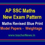 AP 10th Class Maths New Pattern Model Papers, Blue Print SSC Mathematics New Weightage 2020