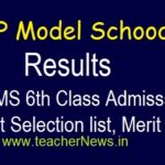 AP Model School Selection list 6th Class Admission 2020 | APMS 6th Entrance test Merit list, Results