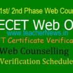 AP DEECET 2020 - 1st #2nd Web Option/ Counselling Dates, Certificate verification Schedule 2020