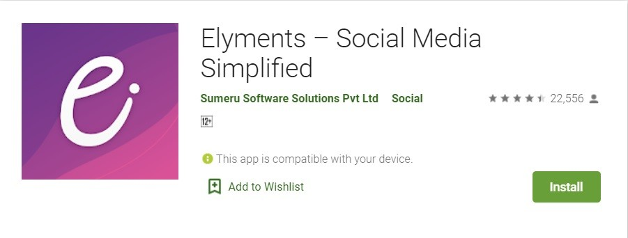 Elyments Android App – Indian Social Media Simplified App Download