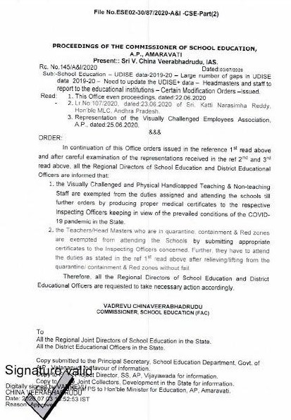 Teachers Not Attend to Duty in quarantine, containment & Red zones areas are exempted